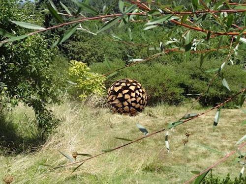 garden art, Allan thought a ball made of firewood chunks.