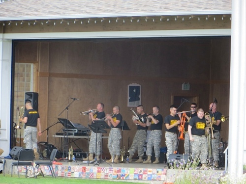 Brass Ops, a military band from Portland, played cheerful tunes at Veterans Field.