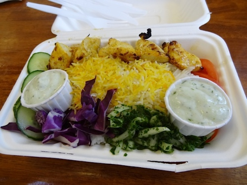 chicken kebab with saffron rice and cucumber sauce