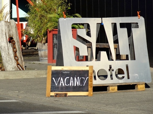 Allan worked east to west, just for variety. West end: Salt Hotel is open for business, and we highly recommend them.