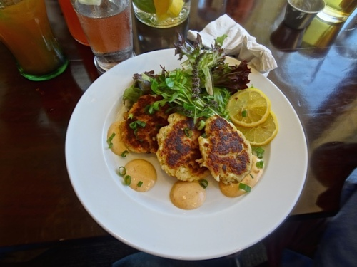 delicious halibut cakes (Allan's photo)