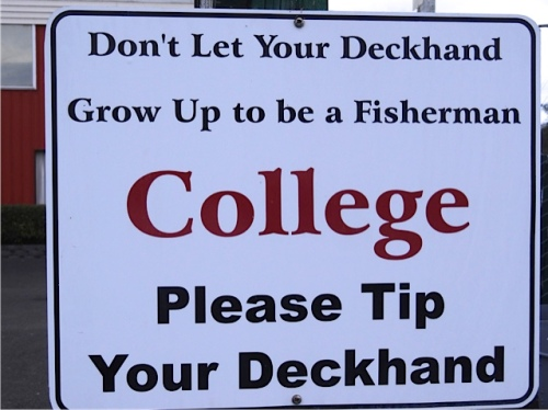 a sign on the dock