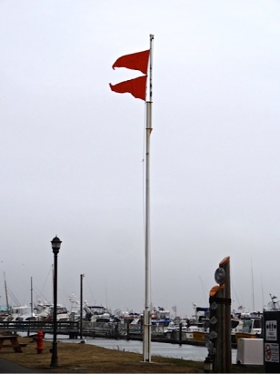 storm flags by the port office