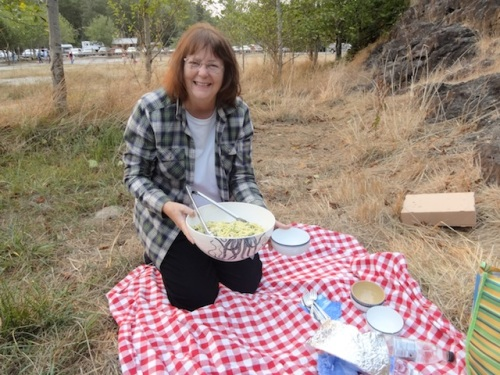Nancy and her delicious pasta salad (Phil's recipe)