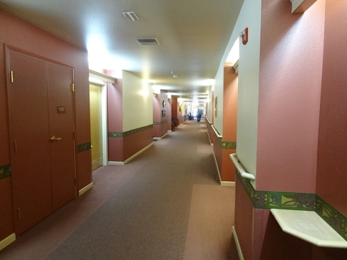 the hallway route to the outside