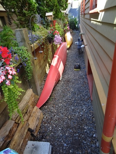 narrow garden on south side of house