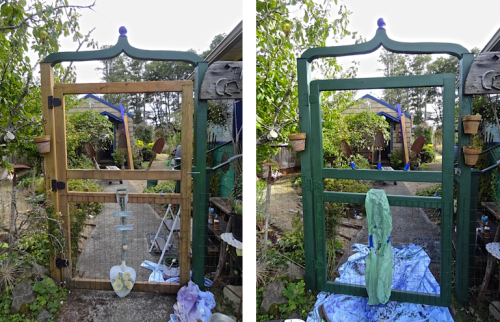 before the rain: painting the gate to match the new arbour; the reason will be even more clear tomorrow.