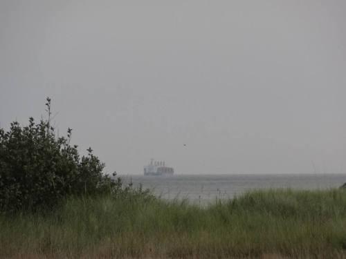 ocean haze and ship