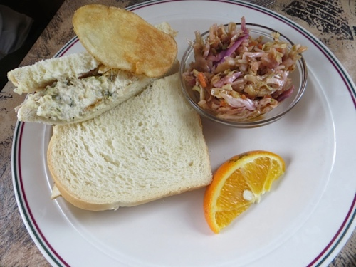 locally canned albacore tuna sandwich with house made potato chips