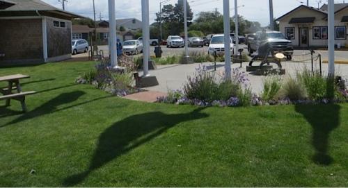 the Veterans Field flag pavilion garden