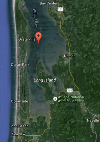 He was going to boat from Oysterville down to mid-Peninsula; instead he went from the Willapa Wildlife Refuge to nearby Long Island.