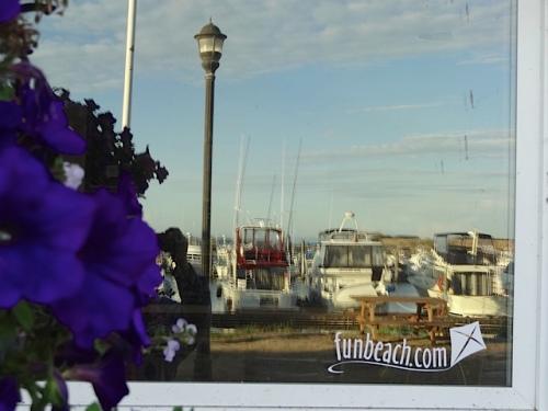 port office window reflection
