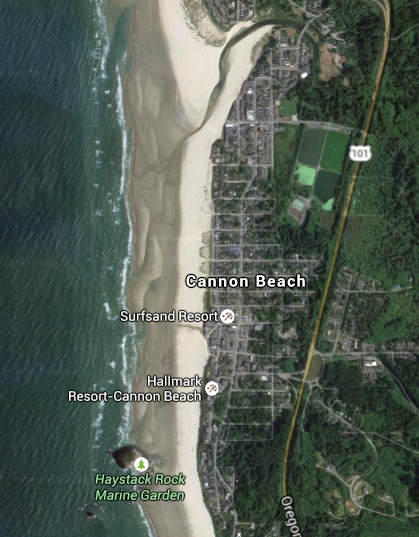"Cannon Beach. This year the tour was in the ""presidential blocks"", toward the top of the satellite view."