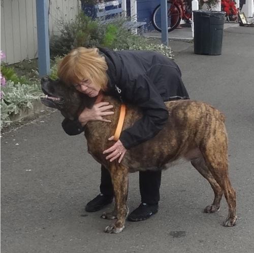 a market goer doting on her dog