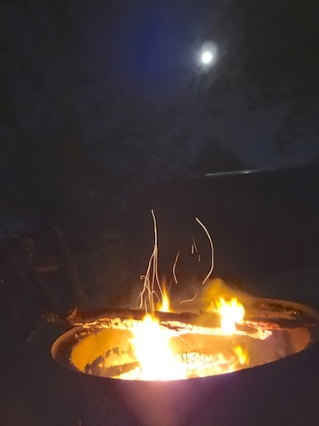 campfire and moon