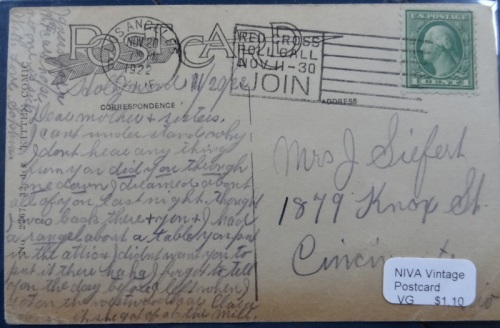 and the back of the postcard, with the story of a dream