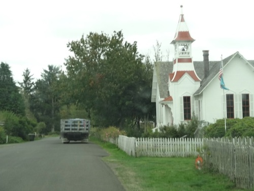 following the seriously big Sea Star Landscape Maintenance truck past the Oysterville Church.