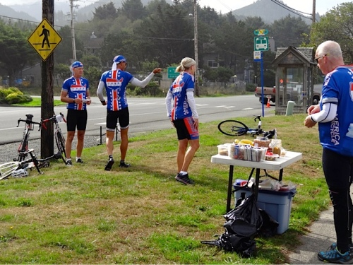 The America by Bicycle group is averaging 67 miles a day. They started in Astoria and are heading to souther California.