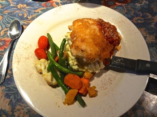 Allan's photo of his Parmesan Chicken: Crispy Parmesan Crusted boneless naturally raised Chicken Breast on Yukon Gold Smashed Potatoes topped with house Pomodoro Sauce