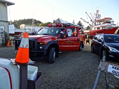 He found the volunteer fire department having a drill while he filled the trailer at the boatyard.