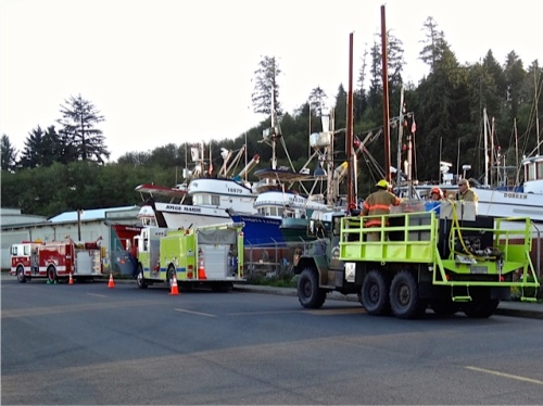 boatyard and fire fighters