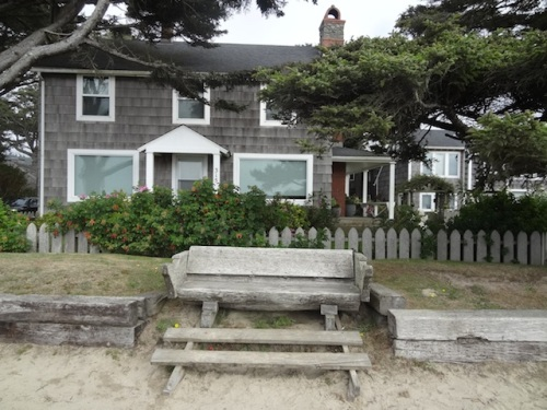 ocean view bench in front of that same house