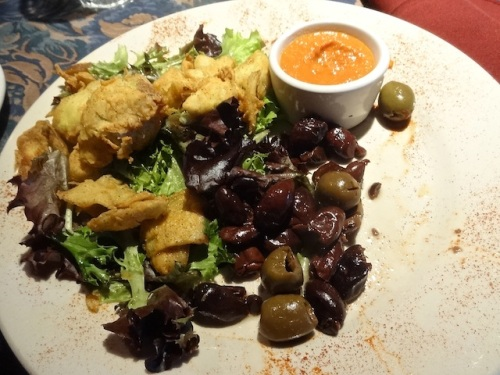 artichoke fritos appetizer (after we had dived in)