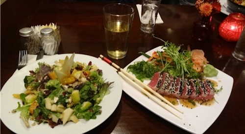 pear and goat cheese salad and ahi tuna