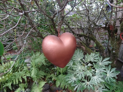 Allan spray painted the pink heart, from MaryBeth, a convincing copper colour.