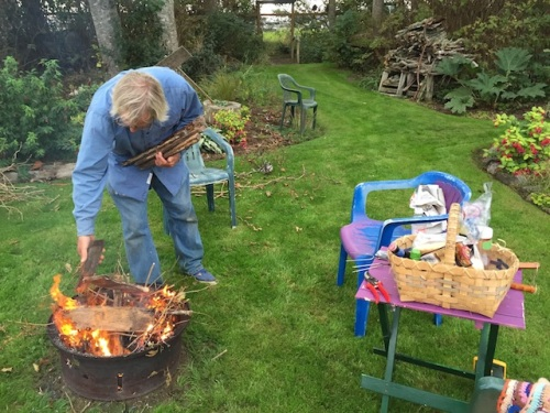 Allan starting the fire.