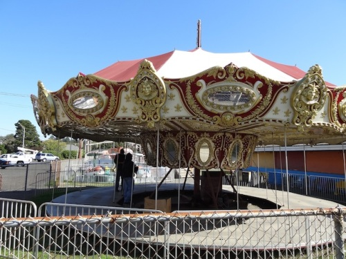 the carousel dismantled, sure sign of end of summer