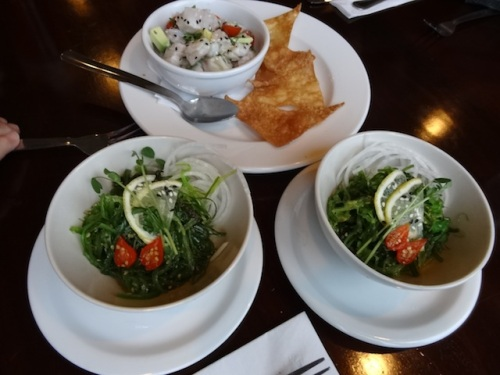 seaweed salad and ceviche