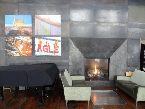 the fireplace at the Bridgewater Bistro
