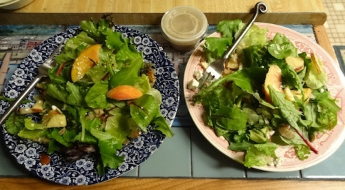Peaches, apples, pears, feta, and slivered almonds on spring and Romaine lettuce with pear gorgonzola dressing