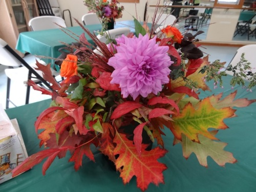 inside: bouquets with pin oak foliage