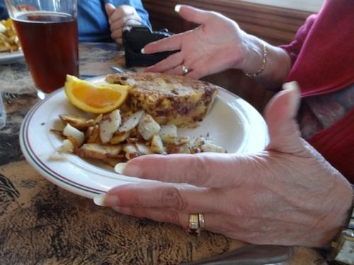 Karla and Allan had delicious mushroom quiche.
