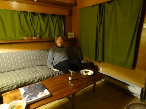 Carol in the Zelmar Cruiser living room