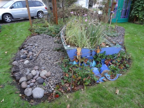 scree garden rocks put in place but not arranged