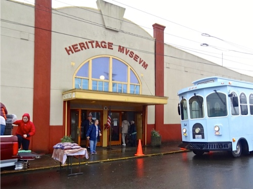 "The Long Beach trolley was called into service as the ""Bog Bus"" (Allan's photo)"