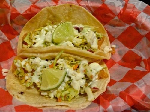 Allan had the fish tacos, $3 each.