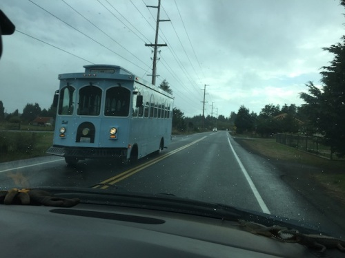 the trolley heading north again as we drove home