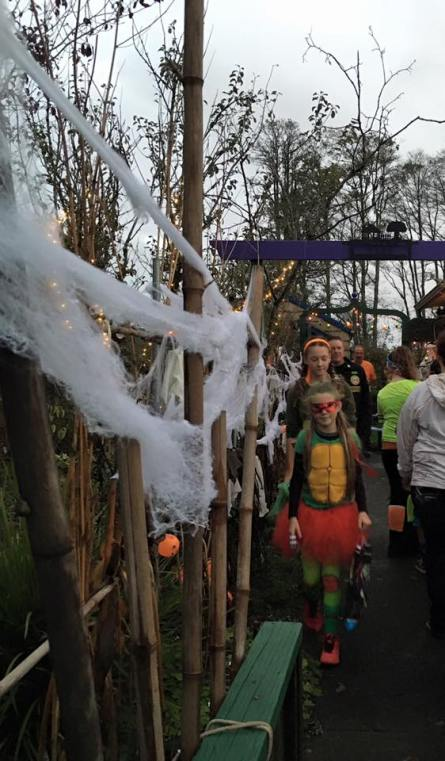 Wendy Murry got this photo of the double line of trick or treaters