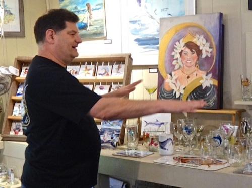 Don with a painting he had done of his wife, Jenna.