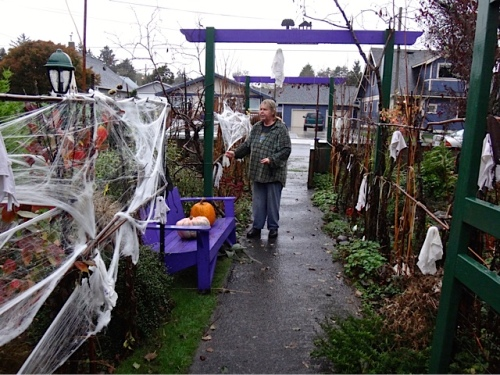 "Allan's photo: applying cobwebs in the storm; ""Look happy!"", he said."