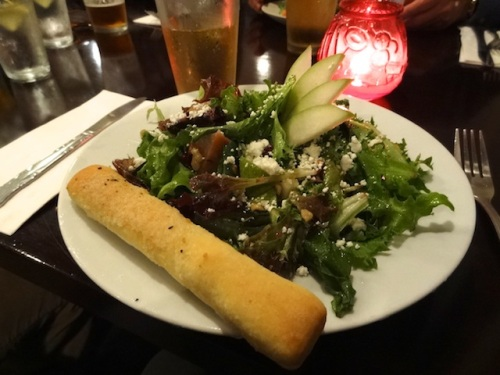 pear and goat cheese salad with bonus bread stick