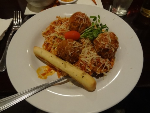 Wednesday is pasta night. Spaghetti and meat balls for me and Dave.