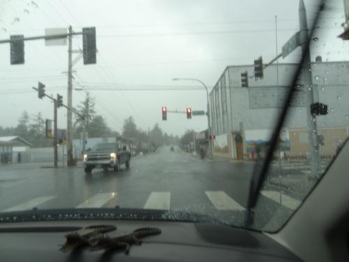 11:30: optimistically heading north at the Ilwaco stoplight.