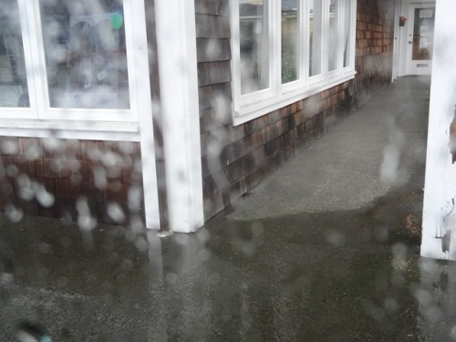 11:47: the downspout catch basin started backflowing water.