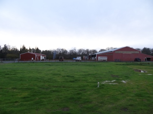 almost sunset, looking back to the Red Barn and its annex