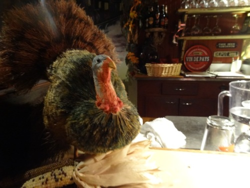 a seasonal turkey somehow made of an old broom